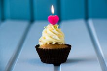 Birthday's cake - cupcake with a heart shaped candles for 1 - first birthday or valentine's day.